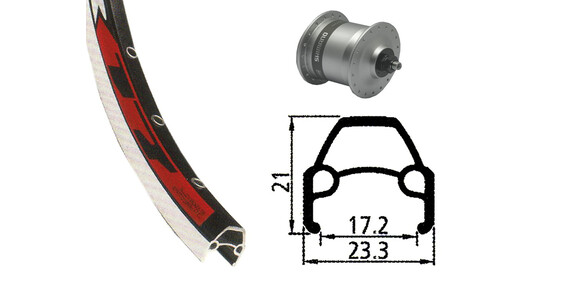 Rodi VR17 hjul forhjul 622-17 36L, DH-3N30 navdynamo sølv